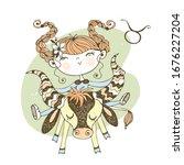 zodiac sign taurus. funny...   Shutterstock .eps vector #1676227204