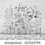 sketch image with business... | Shutterstock . vector #167622794