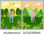 couple walking in green park ... | Shutterstock . vector #1676238964
