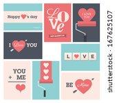 set of valentine cards  vector...