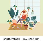 young woman with a baby works... | Shutterstock .eps vector #1676264404