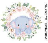 watercolor elephant... | Shutterstock .eps vector #1676265787