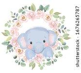 watercolor elephant... | Shutterstock .eps vector #1676265787