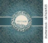 vintage frame on floral... | Shutterstock .eps vector #167626925