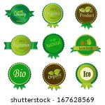 set of fresh organic labels and ... | Shutterstock .eps vector #167628569