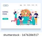 eating pizza vector website... | Shutterstock .eps vector #1676286517