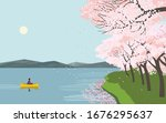 girl in boat on lake enjoy... | Shutterstock .eps vector #1676295637
