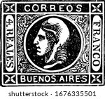 Buenos Ayres Stamp (4 reales) from 1860, a small adhesive piece of paper was stuck to something to show an amount of money paid, mainly a postage stamp, vintage line drawing or engraving illustration.