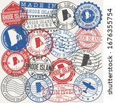 rhode island  usa set of stamps.... | Shutterstock .eps vector #1676355754