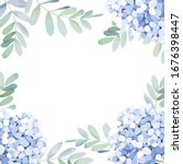 floral card with eucalyptus... | Shutterstock .eps vector #1676398447