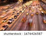 Traffic on Harbor Freeway, downtown Los Angeles, California, United States