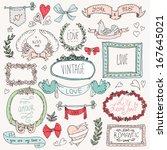 vintage label set  hand drawn... | Shutterstock .eps vector #167645021