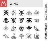 Wing Icon Set. Collection Of...