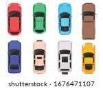 cars top view isolated on white ... | Shutterstock .eps vector #1676471107