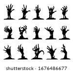 zombie hand black silhouette... | Shutterstock .eps vector #1676486677