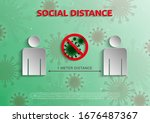 social distance 1 meter for... | Shutterstock .eps vector #1676487367