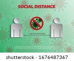 social distance 1 meter for... | Shutterstock .eps vector #1676487367