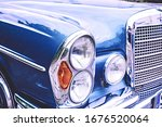 Old Vintage Car In Blue With...