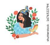 girl holding butterfly tropical ... | Shutterstock .eps vector #1676522794
