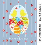easter card with chicks and... | Shutterstock . vector #1676543317