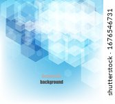 blue geometric vector hexagons ... | Shutterstock .eps vector #1676546731