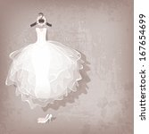 wedding dress on grungy... | Shutterstock .eps vector #167654699