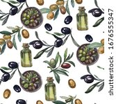 olives oil branches fruit...   Shutterstock . vector #1676555347