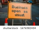 Business Open As Usual. Yellow...
