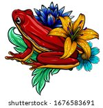 animal red frog with flower... | Shutterstock .eps vector #1676583691