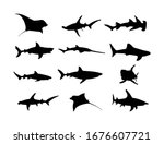 collection of shark silhouette... | Shutterstock .eps vector #1676607721