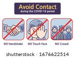 avoid contact during the covid... | Shutterstock .eps vector #1676622514