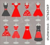 red dresses collection | Shutterstock .eps vector #167662469