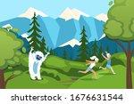 character man  woman running... | Shutterstock .eps vector #1676631544