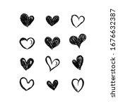 hand drawn hearts. set of black ... | Shutterstock .eps vector #1676632387