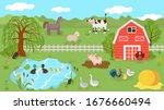 farm animals cute cartoon... | Shutterstock .eps vector #1676660494