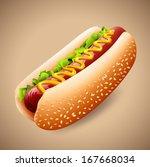 hot dog | Shutterstock .eps vector #167668034