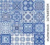 ethnic ceramic tiles in...   Shutterstock .eps vector #1676685034