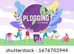 plogging banner lets run to...   Shutterstock .eps vector #1676702944