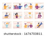 video tutorials blogger people...   Shutterstock .eps vector #1676703811