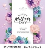mother's day greeting card with ... | Shutterstock .eps vector #1676734171