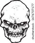 creepy skull on white... | Shutterstock .eps vector #1676737177
