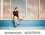 young business woman with... | Shutterstock . vector #167675315
