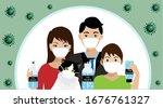 covid 19 prevention. family... | Shutterstock .eps vector #1676761327