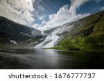 Low perspective sotefossen waterfall long shutterspeed Norway