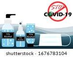 covid 19 prevention. using 75 ... | Shutterstock .eps vector #1676783104