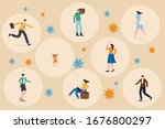 social distancing concept ... | Shutterstock .eps vector #1676800297