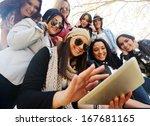 happy teen girls having good
