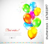 colorful vector balloons.... | Shutterstock .eps vector #167681897