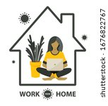 self quarantine concept. work... | Shutterstock .eps vector #1676822767