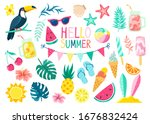 collection of cute summer... | Shutterstock .eps vector #1676832424
